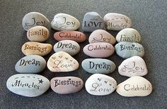 "10 Gravierte Steine ""Fancy Stones"" Hochzeit Steine Similar Items like 10 Engraved Stones ""Fancy Stones"" Wedding Stones on Etsy Pebble Painting, Pebble Art, Stone Painting, Rock Painting, Diy Painting, Stone Crafts, Rock Crafts, Diy Crafts, Wishing Stones"