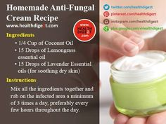 Homemade Anti-Fungal Cream Recipe You can get your Antifungal Soap with Tea Tree…
