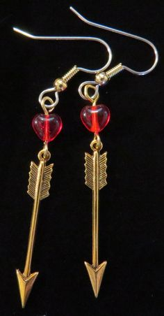 Arrow Earrings Red Glass Hearts and Arrows Earrings 24 Karat Gold Plate Valentines Day Gift Valentine EG510 by NostalgicCharm on Etsy