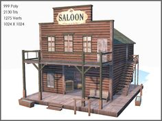 by Raahl max western buildings - Western Buildings Collection, Low Poly, Textured. by Raahl Western Saloon, Old West Saloon, Westerns, Bar Country, Play Houses, Bird Houses, Building Plans, Building A House, Old Western Towns