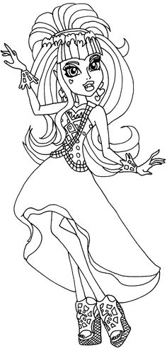 Draculaura Performing At The Dance Scene Coloring Pages - Monster High Coloring Pages : KidsDrawing – Free Coloring Pages Online