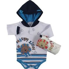 Cegonha Feliz Roupas Bebê Menino : Body Manga Longa C/Capuz Bebê Menino Korte Rekorte