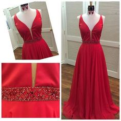 Red V-neck A-line beaded satin special high quality long Floor-length Prom Dresses Gown,cheap formal prom gown BD1705303