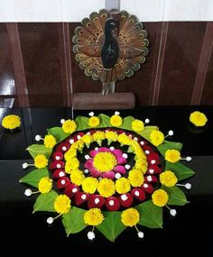Flower Rangoli For Diwali Flower Rangoli Images, Simple Flower Rangoli, Rangoli Designs Flower, Colorful Rangoli Designs, Rangoli Ideas, Rangoli Designs Diwali, Rangoli Designs Images, Beautiful Rangoli Designs, Flower Designs