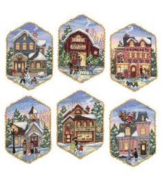 Dimensions Gold Collection Christmas Village Ornaments. I love the detail in these that you don't normally see in small projects. #12Pins