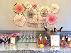 14 & Hudson Bubbly Bar, Blush, Pink & Gold Bridal/Wedding Shower Party Ideas | Photo 8 of 39 | Catch My Party
