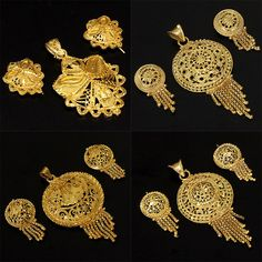 GOLD TONE INDIAN LOT 4 PENDANT EARRINGS WHOLESALE  ...for bridesmaids... Bridal Jewellery, Gold Jewellery, India Jewelry, Jewelry Art, Jewellery Designs, Ring Designs, Gold Pendants, Pendant Set, Pendant Earrings