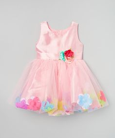 Look at this Pink & Yellow Petal Tutu Dress - Infant, Toddler & Girls on #zulily today!