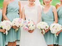 Bridesmaids in Pale Mint Green Bridesmaids | photography by http://www.ariellephoto.com