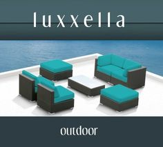 Outdoor Patio Furniture All Weather Wicker MALLINA II Modern Sofa Sectional 7pc Couch Set TURQUOISE by Luxxella. $1369.00. 6 inch ULTRA THICK TURQUOISE Cushions. Curbside delivery with signature required. The Mallina II Sofa Sectional Set is a perfect mix of streamline modern style and lightweight practicality.  This set is intended for a medium to large space.  It includes two ottomans, two middle sectionals, two corner seats, and a tempered glass coffee table.  This ...