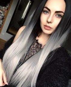 Deep Middle Part Bob Lace Front Wigs Grey Human Hair Wigs For Women Natural Baby Hair Pre-Plucked Natura Hair Line Grey Hair Wig, Dark Ombre Hair, Blond Ombre, Ombré Hair, Ombre Hair Color, Hair Colors, Bob Lace Front Wigs, Synthetic Lace Front Wigs, Synthetic Wigs