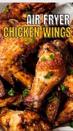 Air Fryer Oven Recipes, Air Frier Recipes, Air Fryer Dinner Recipes, Easy Chicken Dinner Recipes, Chicken Wing Recipes, Appetizer Recipes, Air Fried Food, Air Fryer Chicken Wings, Air Frying
