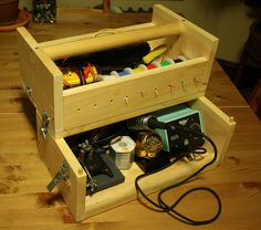 Portable soldering station in a toolbox tiny little life alex stuff in 2019 Portable Workbench, Electronic Workbench, Portable Workstation, Tool Room, Electronics Projects, Electronics Gadgets, Homemade Tools, Computer Repair, Work Desk