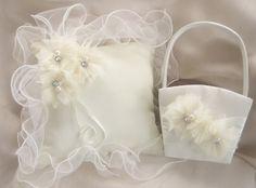Flower Girl Basket   Ring Bearer Pillow   Ivory by nanarosedesigns, $39.00. I like it but wish it were white