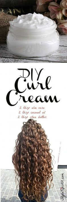 An all natural DIY curl cream that uses pure aloe vera gel, coconut oil, and shea butter to give you the healthiest, bounciest curls you've ever had! If you have curly or wavy hair, this DIY curl cream recipe will be right up your alley! Instead of satura Curly Hair Tips, Curly Hair Styles, Natural Hair Styles, Dry Curly Hair, Hair Mask Curly Hair, Tousled Hair, Natural Curly Hair, Kinky Hair, Bobs For Curly Hair