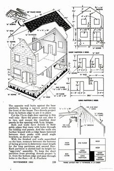 A 3 foot long make-it-yourself plywood dollhouse project from the '60s | Source: Popular Mechanics via Google Books