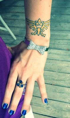 Triforce wrist tattoo and Zora saphire ring - For the Love of Zelda ;D