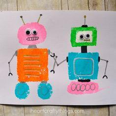 Sponge Painted Shape Robots Craft | I Heart Crafty Things Kindergarten Art, Preschool Crafts, Fun Crafts, Crafts For Kids, Arts And Crafts, Robot Crafts, Daycare Crafts, Robot Classroom, Classroom Ideas