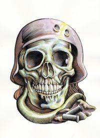 Awesome Skull with Helmet Tattoo. Click image for more free tattoos.