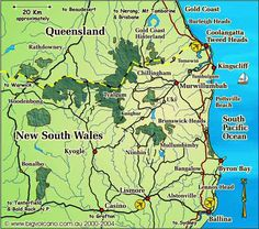 Clickable locality map for the Ballina, Byron Bay, Tweed Coast, Tweed Heads, - Upper Clarence, Northern Rivers, NSW, and Gold Coast hinterland, QLD, region of Australia