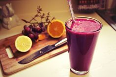 Red grapes, mixed berries 1 orange, 1 lemon and almond Amazing Drink for Beautiful Skin