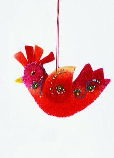 Felt Rooster Christmas Ornament