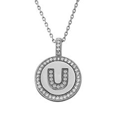 Letter U Micro Pave CZ Pendant .925 Sterling Silver by ElizabethJewelryInc on Etsy