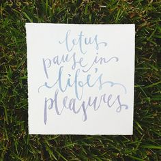 Let us pause in life's pleasures via Trisha Chan