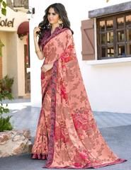 Real magnificence will come out from your dressing style and design with this multi colour faux georgette printed saree. The ethnic print work to your dress adds a sign of elegance statement for your . Floral Print Sarees, Printed Sarees, Light Peach Color, Peach Colors, Peach Saree, Women Clothing Stores Online, Party Sarees, Ethnic Print, Buy Sarees Online