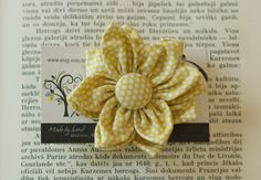 Fabric Flower Ponytail Large  Yellow Mini Dots by NikJDesigns, $10.00