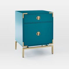 Malone Campaign Nightstand - Blue Teal | west elm