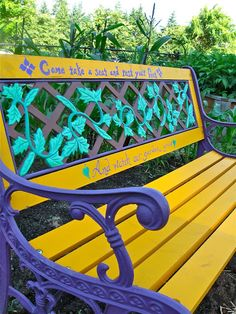 Brightly painted garden bench Reflecting Back on My Community Garden Plot gravy lessons Outdoor Projects, Garden Projects, Outdoor Decor, Painted Benches, Outdoor Classroom, My Secret Garden, Summer Garden, Yard Art, Garden Furniture