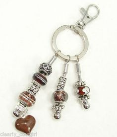 6380 Brown Heart Dangle Charm 925 Silver Glass Bead Keychain Fob WOW | eBay