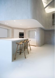 Our DEEP fits seamlessly into this kitchen. The luminaire disappears into the ceiling and makes sure you won't lose an inch of the much-needed room height. Light Project, Minimal Design, Kitchen Lighting, Indoor, Ceiling, Flooring, Deep, Room, Furniture