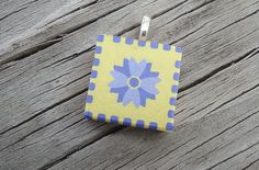Bright Yellow and Lavender Scrabble Style Pendant by KKMaries, $7.50