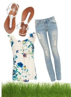 A fashion look from March 2013 featuring floral tops, ripped jeans and white flats. Browse and shop related looks. Spring Outfits For School, Spring School, School Outfits, Summer Outfits, Spring Summer, White Flats, Fashion Outfits, Womens Fashion, Summer Clothes