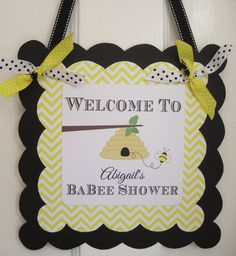 Bumble Bee Baby Shower Welcome Door Sign by GeminiCelebrations, $12.50