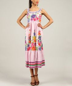 Another great find on #zulily! Pink Floral Embroidered Yoke Dress #zulilyfinds