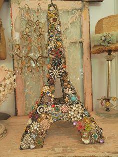 "OMG! AMAZING Vintage Wire Eiffel Tower 280+ Jeweled RHINESTONES Jewelry~21"" tall"