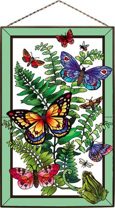 Beautifully designed painted glass art panel with a wonderfully detailed botanical theme. Glass Painting Patterns, Glass Painting Designs, Stained Glass Patterns, Stained Glass Art, Fabric Painting, Butterfly Drawing, Butterfly Wallpaper, Butterfly Pictures, Panel Art