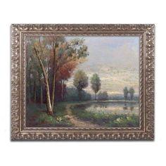 Trademark Fine Art Landscape with a Lake Canvas Art by Daniel Moises, Gold Ornate Frame, Size: 16 x 20