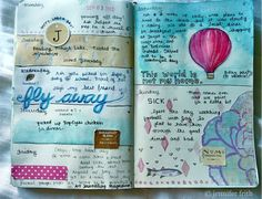 Art journal pages for inspiration, ideas, and technique. Keeping a scrapbook, travel journal, or sketchbook