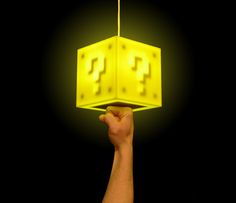 Mario coin block lamp that you touch on the bottom to turn on. Instructables DIY