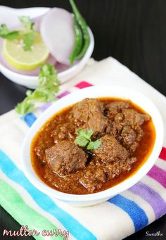 Mutton curry recipe or mutton gravy recipe. Soft tender chunks of meat in Indian style onion tomato masala gravy known as mutton masala in Indian spices. Indian Mutton Recipes, Indian Chicken Recipes, Lamb Recipes, Veg Recipes, Spicy Recipes, Curry Recipes, Indian Food Recipes, Asian Recipes, Cooking Recipes