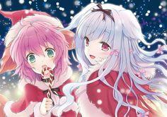 Christmas Anime Girls Beautiful Art Candy Merry