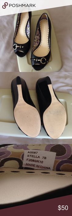 Coach leather shoes Coach leather shoes. 2 1/2 inches heel. In a very good condition. Coach Shoes Wedges