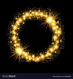 Gold glow glitter circle frame with stars on black vector image on VectorStock Crown Background, Poster Background Design, Retro Background, Glitter Background, Heart Overlay, Empty Picture Frames, Gold Bokeh, Christmas Lights Garland, Decorative Lines