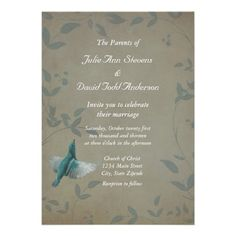 Beautiful Blue Bird Wedding Personalized Announcement