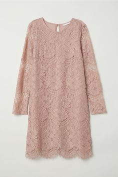 H&M Short Lace Dress - Vintage pink - Women Short Beach Dresses, Short Lace Dress, Trendy Dresses, Nice Dresses, Dress Lace, Dresses Dresses, Pink Dress, Kebaya Muslim, Sewing Clothes Women