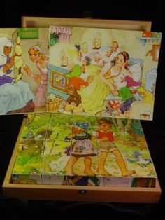 Vintage German Hermann Eichhorn Picture Blocks Cubes Wooden Fairy Tale Puzzle 6~~